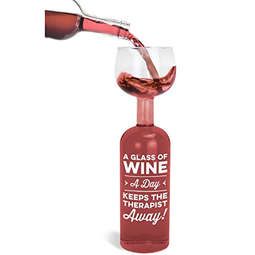 XXL Weinglas Glass of Wine Keeps Therapist away mit 750 ml Fassungsvermögen - Ein Glas Wein am Tag Glas Weinflasche 9