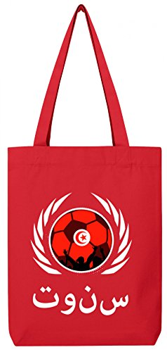 Tunisia World Cup Fussball WM Bio Baumwoll Tote Bag Jutebeutel Stanley Stella Fußball Tunesien Red