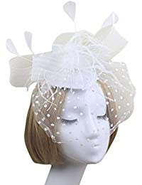 Voberry- Fascinator Hat for Mesh Yarn Feathers Headband Cocktail Tea Party Hat Headwear