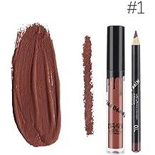 Kiss Beauty Matte Liquid Lipgloss Lipstick and Lip Liner (7652-1)