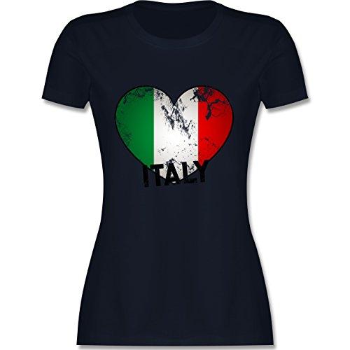EM 2016 - Frankreich - Italien Herz Vintage - tailliertes Premium T-Shirt mit Rundhalsausschnitt für Damen Navy Blau