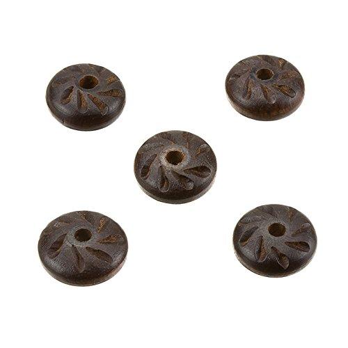 Piattino in legno marrone scuro intagliato rustico Disco ciambella perline 17x 7mm pk5