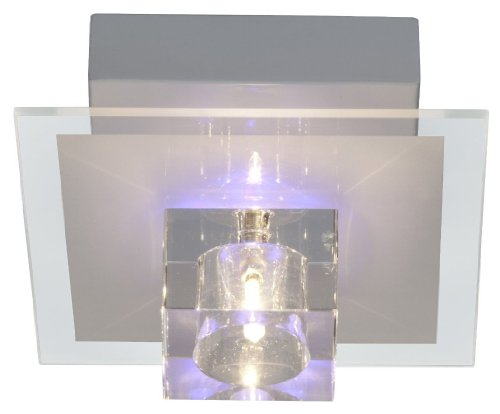 Brilliant AG G94054/00 Sandor Plafonnier 1 Lumière avec Changement de Couleurs RGB/Télécommande Métal/Verre G4 16 W Transparent