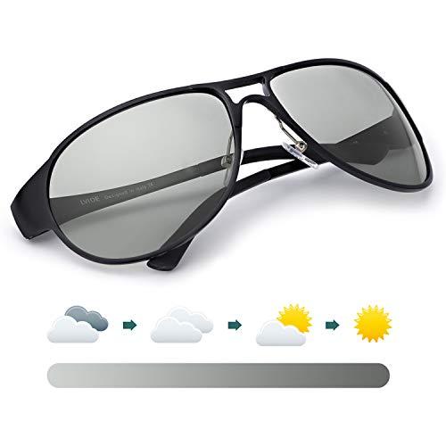 LVIOE Pilotenbrille Sonnenbrille Herren, Photochromes Linse Polarisierte 100% UVA & UVB Schutz, Groß Schwarz Metallrahmens für das Fahren Angeln Outdoor-Aktivitäten