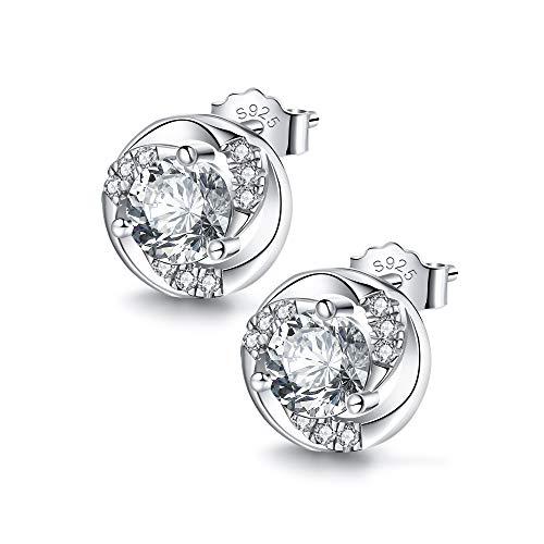 J.Endéar Ohrstecker Silber 925 Damen Mädchen Klein Zirkonia Ohrringe Rotierende Blume Geburtstag Muttertag Geschenk (Diamant-hochzeit-sets 2 Karat)