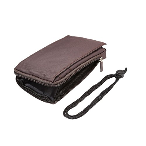 DFV mobile - Multi-functional Universal Vertical Stripes Pouch Bag Case Zipper Closing Carabiner for =>      APPLE IPHONE 5S > BLACK XXM (18 x 10 cm) Brown XXM (18 x 10 cm)