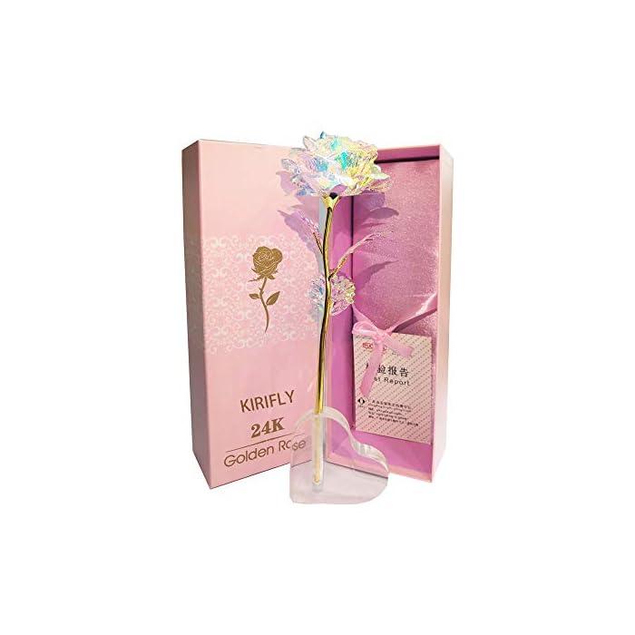 KIRIFLY Gold Rose Geschenk für Frauen Blumen Künstlich Deko Unechte Blumen für Hochzeitstag Freundin Ehefrau Muttertag…