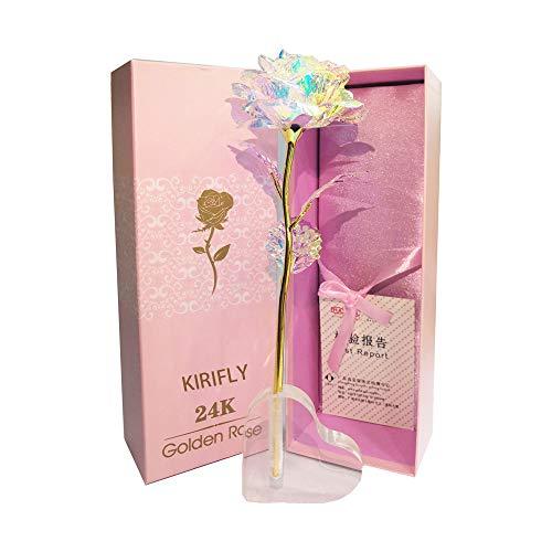KIRIFLY Gold Rose Geschenk für Frauen Blumen Künstlich Deko Unechte Blumen Plastik für Hochzeit Freundin Muttertag Dankeschön Schwester (Herz Stehen)