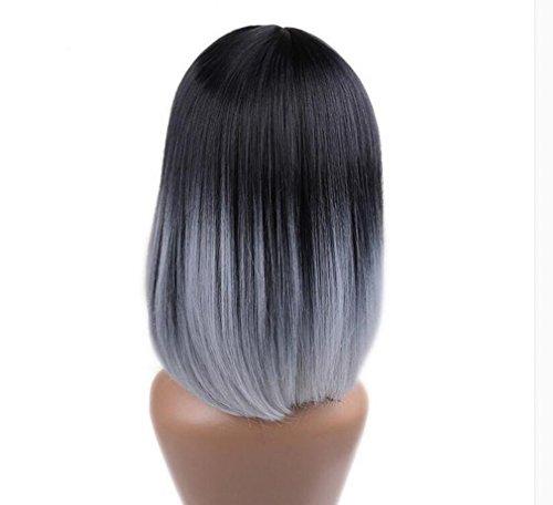 urze gerade Bob Perücke schwarz zu grau hitzebeständige Perücken Party Cosplay Perücken natürlich als echtes Haar (Geisha Halloween Haar)