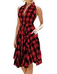 Womens Dresses,Moonuy Girl Plaid Zipper Irregular Hem Sleeveless Bodycon Club Evening Party Beach Dress
