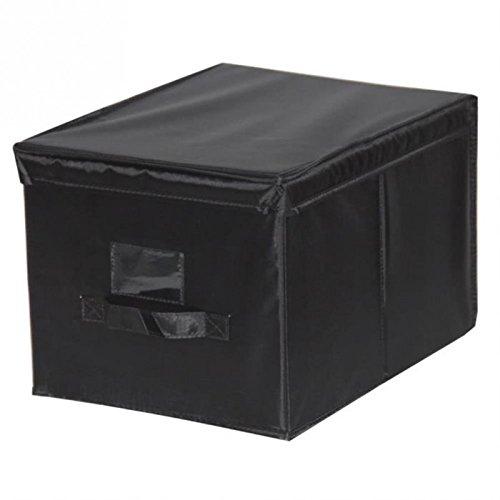 Mondex EVE712-01 Malle de Rangement avec Porte Etiquette Modèle M Plastique/Tissu Noir 30 x 40 x 25 cm