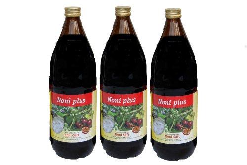 Noni PLUS Direktsaft von den Fidschi-Inseln mit Fruchtdicksaft, 3 x 1000ml