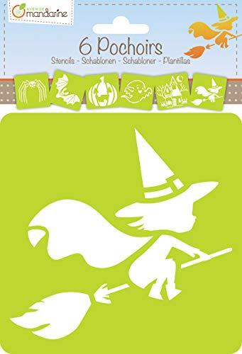 Avenue Mandarine PO003O Set (mit 6 Schablonen, 15 x 15 cm, geeignet für Kinder ab 3 Jahre, für Filz- und Farbstifte, Farben oder Farbbomben, Halloween) 6er Pack