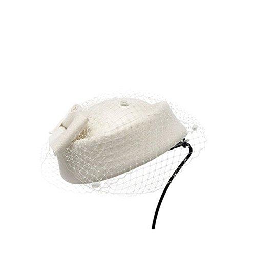 PIXNOR Frauen Wollfilz Hochzeit Hut Comb Fascinator Lady Kleid Fascinator Pillbox Hut (weiß)