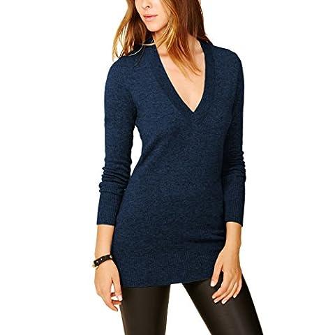 Parisbonbon Women's 100% Cashmere V-Neck Sweater Colour Midnight Blue Size 14