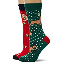 Joules Damen Cracking 3Pk Socken, 100 DEN, Mehrfarbig (Red Multi Xmas Dog RDMLTXMSDG), One size