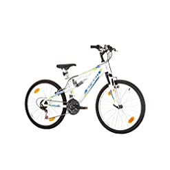 "24"" pollici, CoollooK, SPEED, Unisex, Mauntain Bike, Full Suspension, SHIMANO 18 velocità Bianco"