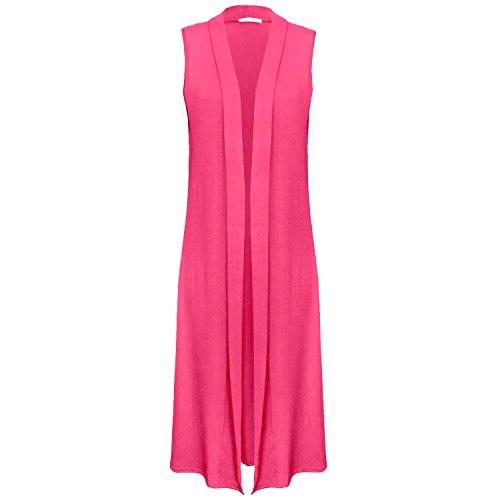 Fast Fashion - Plaine Front De Sans Manches Ouverte Cardigan Maxi Évasée - Femmes Fuchsia