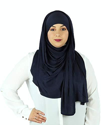 uch Halstuch für Damen I Kopfbedeckung 80 x 180 cm I Muslim Gesichtsschleier, Islamische Schal, Haartuch, Pashmina, Turban I Jersey - Marineblau ()