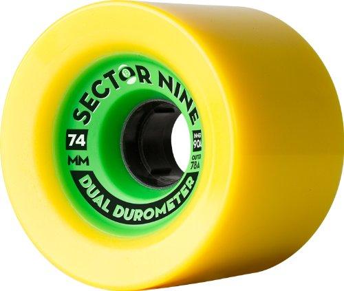 Sector 9Dual Durometer Skateboard Rad, gelb mit grün, 74mm 78A/90A Innen Außen