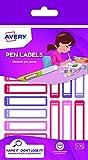 Etichette per penne rosa/viola, 50x10mm, 30et