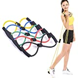 KS HEALTHCARE Chest Expander Resistance 8 Type Muscle Chest Expander Rope Workout Pulling Exerciser Fitness Exercise Tube Sports Yoga for Men and Women - Multi Color