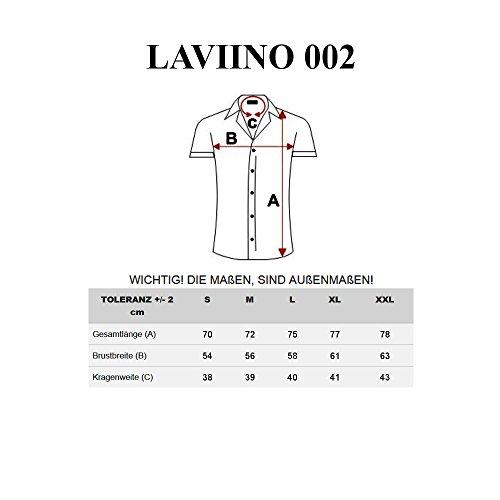 BOLF Herren Kurzarm Hemd Freizeithemd Slim Fit Elegant Klassisch 2B2 Casual Schwarz