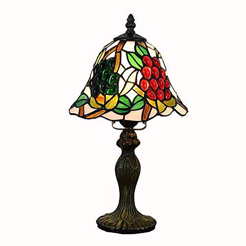 Light-XGM Tischlampe Tiffany Stil Tischlampe Dekorative Studio Studie Restaurant Auf Aluminiumbasis Traubenglas Trauben 8 Zoll, Tischlampe In Der Nacht, 110-220 V, E27