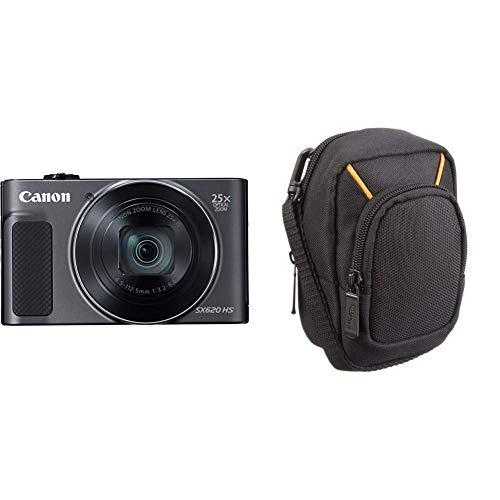 Canon PowerShot SX620 HS Digitalkamera (20,2 MP, 25-Fach optischer Zoom, 50-Fach ZoomPlus, 7,5cm Display, Opt Bildstabilisator, WLAN, NFC) schwarz & AmazonBasics Kameratasche für Kompaktkameras