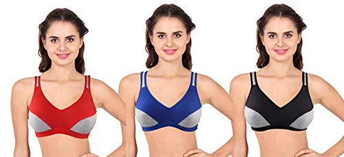 IPP Gym Wear Daily Workout Sports Bra for Women's Combo Color Red Blue Black (Pack of 3) Size 30