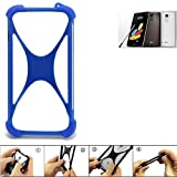 K-S-Trade Bumper LG Stylus 2 DAB+ Silikon Schutz Hülle Handyhülle Silikoncase Softcase Cover Case Stoßschutz, blau (1x)