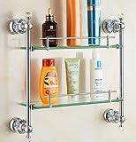Xiang Cadre de Verre de Salle de Bains en Cristal et Support de Douche à shampooing cosmétique à Double vitrage plaqué cuivre, B