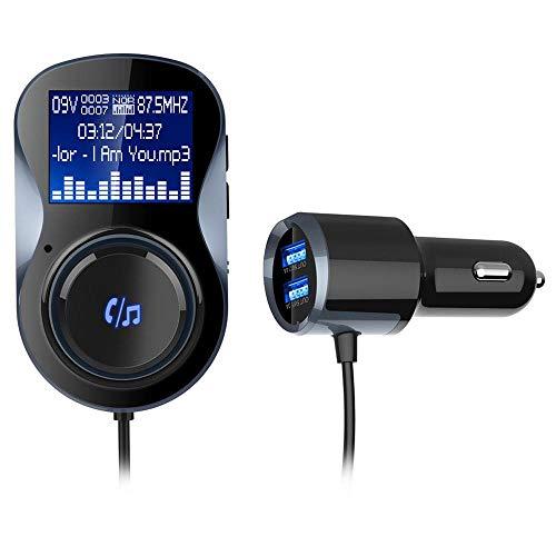 MaanZys Bluetooth fm Sender, Auto Bluetooth mp3, 1,4 Zoll großbildenen Auto-Musik-Player mit Auto-Ladegerät Funktion Dual-USB-Port-Lade