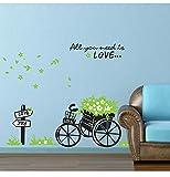 LXHLXN 50x70 cm Removable Home Decor Romantische Frische Grüne Blumenkorb Bike Love Wandaufkleber Für Kinderzimmer Kindergarten Schlafzimmer Tapete