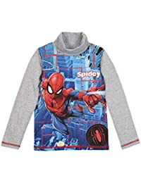 016f00b1 Spiderman Marvel Official Boys Long Sleeve 100% Cotton Top Turtle Neck T- Shirt with