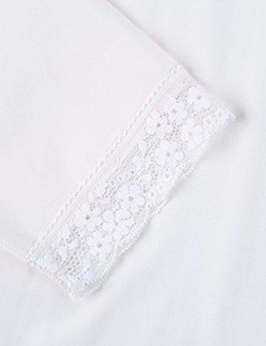 QianXiu Abbigliamento da notte per donna Comoda camicia da notte Accappatoio in morbido cotone sexy in pizzo Biancheria da notte Peso leggero Camicia da notte Ivory