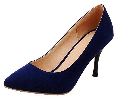 VogueZone009 Donna Plastica Scarpe A Punta Tacco Alto Tirare Puro Ballerine Azzurro