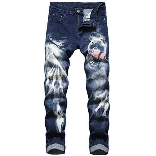 hahashop2 Herren Chino Pants Jeanshose Original Fit Basic Slim Fit Jeans Hose Denim Stretch Regular Neue schlank bedruckte Stretch-Jeans mit 3D-Charakter -