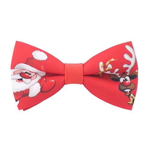 Bow Tie House Red Bow tie pre-tied shape with Christmas Deer & Santa, by (Small)