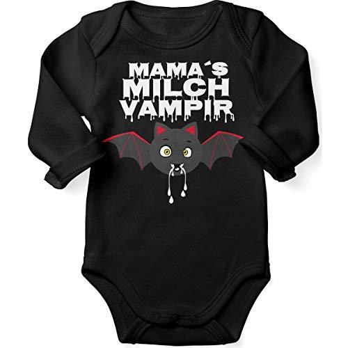 De Vampiri Kostüm - Mikalino Babybody mit Spruch für Jungen Mädchen Unisex Langarm Mamas Milch Vampir | handbedruckt in Deutschland | Handmade with Love, Farbe:schwarz, Grösse:62