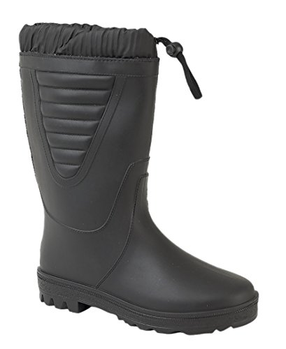 Mens Gents Wellington Wellies Snow Fur Lined Boots UK 6-12 Black