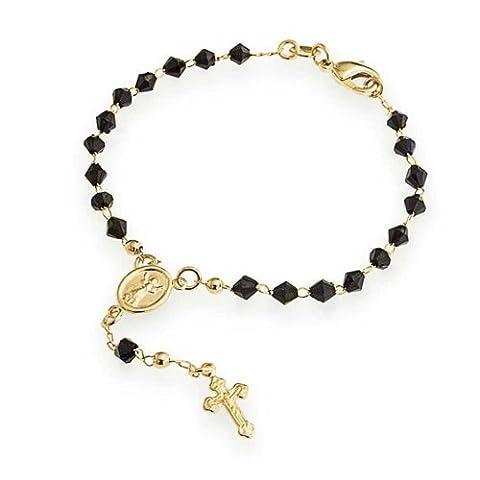 Bling Jewelry facettes noir onyx couleur Cross Rosaire Bracelet or
