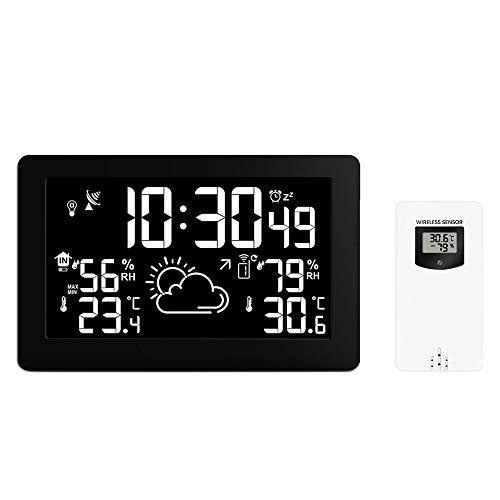 Winbang Drahtlose Wetterstation, Wettervorhersage-Uhr mit 7,5-Zoll-VA-Großbildanzeige Temperatur-Luftfeuchtigkeit Funkwellen-Vorhersage-Uhr USB-Aufladung