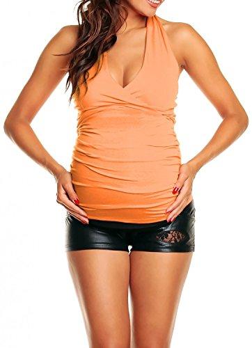 Happy Mama Femme maternité top grossesse t-shirt grossesse avec cache-coeur 167p Abricot