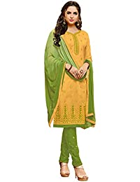 Varayu Women's Yellow Tery Cotton Thread Embroidery,Border Straight Cut Salwar Suit(584DJ1011)