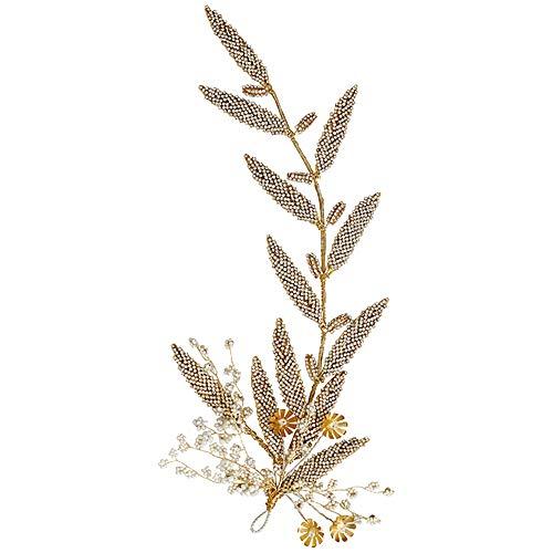 bänder für die Braut, Braut Crystal Hairband Gold Flower Leaves Strass Hairband Kleid Zubehör Kopfschmuck für Braut und Brautjungfer,Gold ()