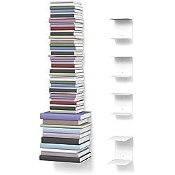 home3000 Unsichtbares Bücherregal 3-1-Set variabel mit 8 Fächern für kleine und große Bücher in weiß und für ca. 180 cm hohen Bücherstapel