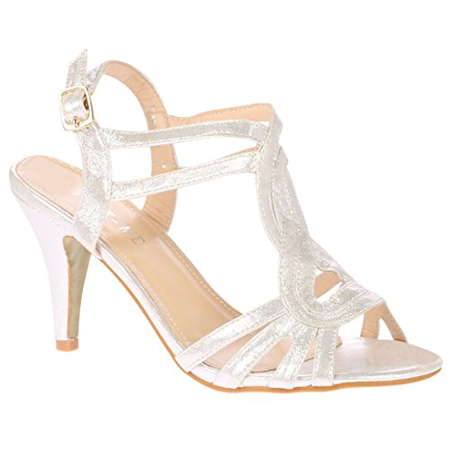 ByPublicDemand May Femme Grande Taille sandales Talons hauts Blanc