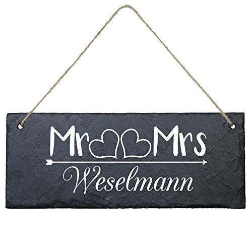 Schiefertafel zur Hochzeit Mr & Mrs eckig - 25 x 10 cm - personalisiertes Türschild mit Familien-Name - Hochzeitsgeschenke für Brautpaar/Geschenke zur Hochzeit