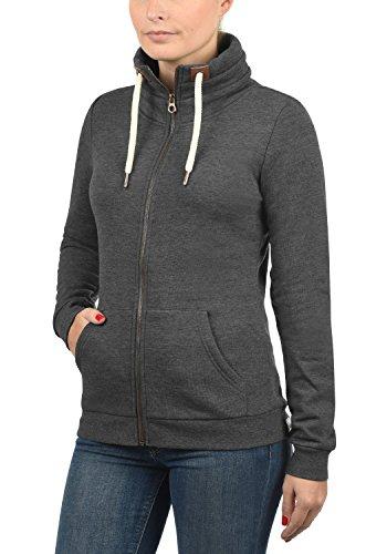 DESIRES Vicky Zipper Damen Sweatjacke Jacke Sweatshirtjacke Mit Stehkragen, Größe:L, Farbe:Dark Grey Melange (8288) - 2